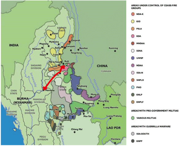 Map: Ethnic Minorities' Areas of Influence and the New Burma Road